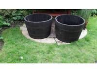 Original Oak Half Barrel Planters x 2