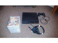 PlayStation 3 with all the leads headset one controller 14 games