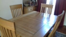 Extending Dining Room Table + 6 Ladder back chairs