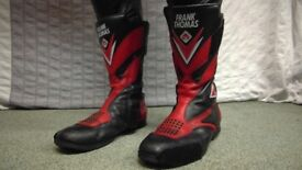 Frank Thomas Leather Motorbike Boots Red & Black Size 10 Motorcycle