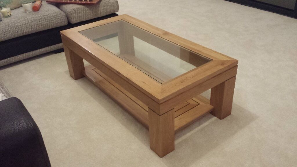 solid oak coffee table with matching smaller table glass top insert in exeter devon gumtree