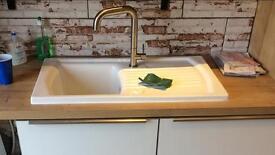 Carron Phoenix Solaris 100 White Ceramic Kitchen Sink - 1 Bowl with tap