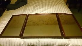 A stag minstrel triple dressing table mirror and supports
