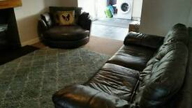 2 DFS Leather Sofas. 3 Seater and Cuddle Sofa