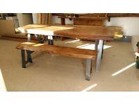 Industrial look oak table & bench's