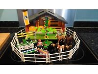 Playmobil toy stables, horses, fencing, jumps, people and accessories