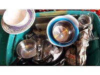 Assortment of kitchen accessories and tableware