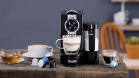 Black Dualit Café Cino Capsule coffee machine with milk frother 85180 RRP£199 & £40 CapsuleVouchers