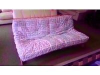 GREAT CONDITION! oregon futon sofa bed and mattress wooden frame mauve and white mattress