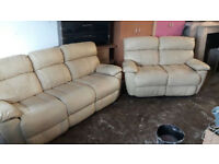 Bargain Clearance Discount Reduced 2+3 Geniune Italian Leather Recliner Sofas, Smoke & Pet Free Home