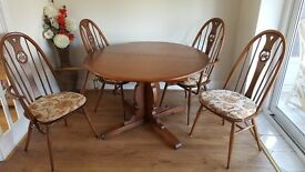 Ercol Vintage Dining Table and 4 Chairs - Excellent Condition