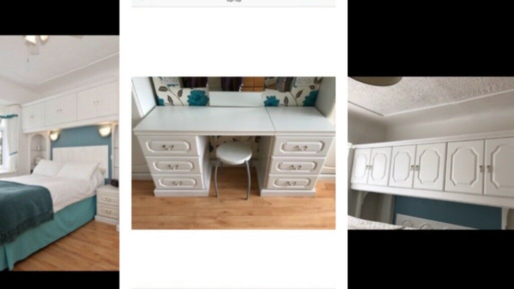 Very Good Condition White Ed Bedroom Furniture Cabinets Over Bed Cupboards Wardrobes