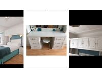 Very good condition white fitted bedroom furniture / cabinets / over bed cupboards / wardrobes
