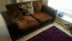 Leather sofa with washable covers