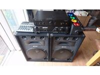 PA system: speakers, mixer, stereo power amplifiers, disco lights, all cables & Technics bag