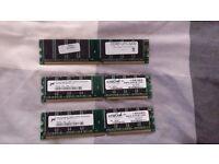 DDR RAM totaling 1GB
