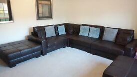 Dark Brown Leather Corner Sofa Suite (Modular)