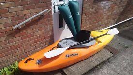 Pyranha H3 255 kayak with equipment