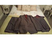 Menswear Next Suit Grey/Silver 38R Jacket 32L Trousers 36R Waistcoat