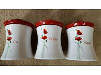 DUNELM POPPY TEA, COFFEE & SUGAR CERAMIC CANISTERS - BRAND NEW