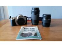 Canon EOS 300 SLR camera with two lenses with original packaging