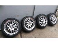 """4x 15"""" BBS 5x112 VW Polo Golf Suzuki Carry Van Alloy Wheels 2x Tyres 5-6mm 3579"""