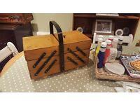 Vintage Retro Sewing Box Knitting Box Jewellery Box Storage Chest