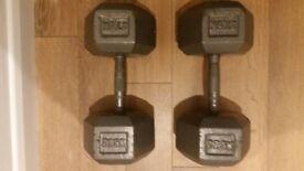 27.5kg cast iron dumbbells
