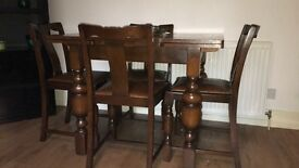Dining table and four chairs extendable