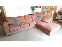 Brown faux suede corner couch