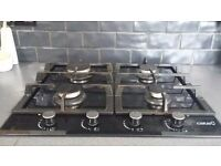 Black Glass gas hob.