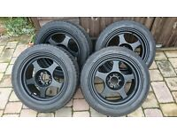 "Rota Slipstream 15"" 15x7 4x100 Black Alloys"