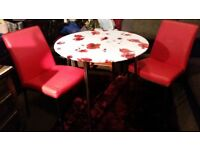 ROUND TABLE 90cm. And leather red 2 chairs