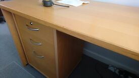 Beech desk H140xW65xH70 plus matching filing cabinet
