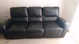3 seater and 2 seater black leather recliner sofas