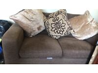 Brown arm chair and 2 seater sofa