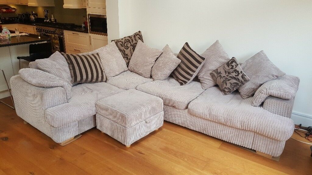 Large cord corner sofa with matching foot stool - grey/beige