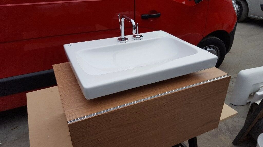 Bathroom cabinet with soft close draw and sink
