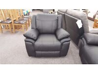 ScS Libra Black Leather Manual Recliner Armchair **CAN DELIVER**