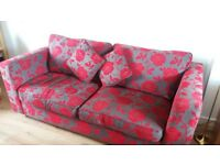 DFS Sofa Bed and Storage Footstool. Red and Grey