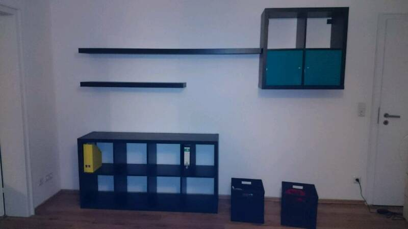 schrankwand kallax ikea braun fast schwarz in nordrhein westfalen kreuztal wohnwand. Black Bedroom Furniture Sets. Home Design Ideas