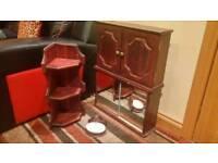 2x SOLID WOOD BATHROOM CABINETS, SMALL CORNER UNIT & SOAP HOLDER IN MAHOGANY