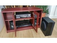 TV and DVD unit set + matching coffee table stool