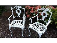 Pair Of 2 Georgian Style Cast Aluminium / Iron Garden Patio Chairs (Seats)