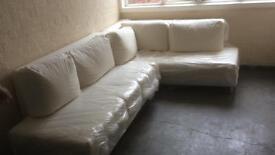 Large White Cotton Corner Sofa Bed
