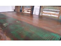 Industrial Dining Table, Bench and Chairs Rustic Boat Wood Reclaimed