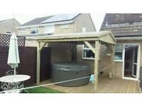 Wooden Garden pergola hot tub shelter 2.7 x 2.7m