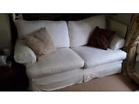 Multi York Three Seat Sofa with two sets of washable covers - white and light green.