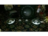 Subwoofer built-in amp 4 speakers and DVD player and stereo