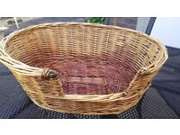 Large Dog Cat Willow Wicker Basket Bed